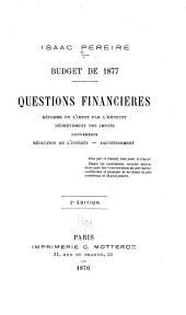 Budget de 1877: Questions financières