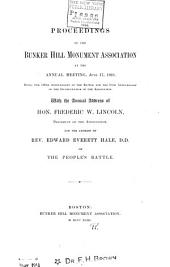 Proceedings of the Bunker Hill Monument Association at the Annual Meeting ...