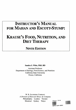 Krause s Food  Nutrition  and Diet Therapy PDF