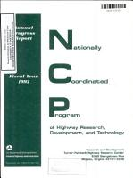 FHWA Nationally Coordinated Program of Highway Research  Development  and Technology  Annual Progress Report  Fiscal Year 1993 PDF