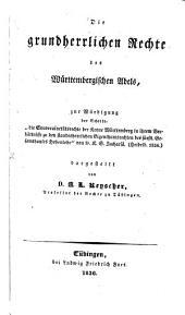 Die grundherrlichen rechte des württembergischen adels...