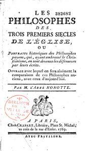 Philosophes des trois premiers siècles de l'Eglise