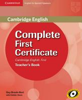 Complete First Certificate for Spanish Speakers Teacher s Book PDF