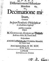 Diss. hist. mor. de decimatione militum
