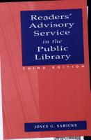 Readers  Advisory Service in the Public Library PDF