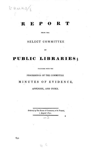 Download Report from the Select Committee on Public Libraries Book
