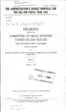 The Administrations s Budget Proposal for the SBA for Fiscal Year 1991  Budget proposals for management assistance and disaster assistance PDF
