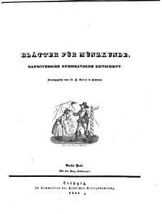Bl  tter f  r M  nzkunde  Hannoversche numismatische Zeitschrift  Hrsg  von H  Grote PDF