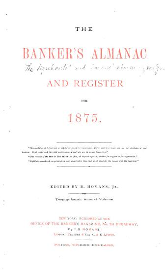 The Merchants  and Bankers  Almanac for     PDF