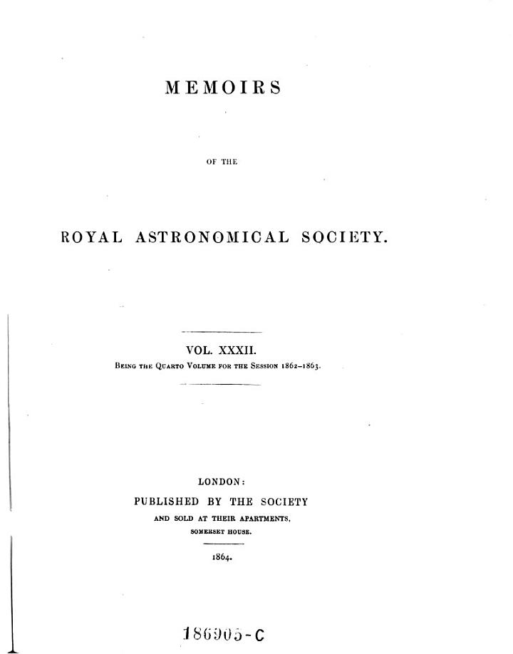 Memoirs of the astronomical Society of London
