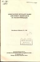 Association of Plant Hairs and Insect Resistance PDF