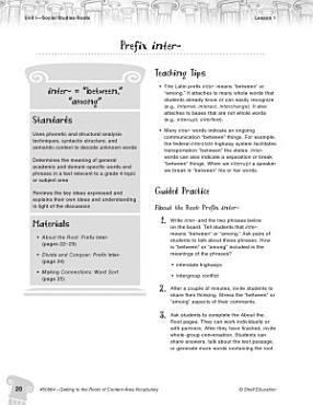 Content Area Vocabulary Level 4  Prefix inter  PDF