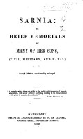 Sarnia  or  brief memorials of many of her Sons     Second edition  considerably enlarged PDF