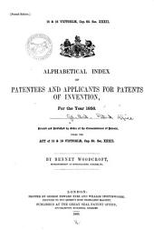 Alphabetical Index of Patentees and Applicants for Patents of Invention ...