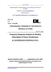 DL/T 911-2004: Translated English of Chinese Standard. You may also buy from www.ChineseStandard.net (DLT 911-2004, DL/T911-2004, DLT911-2004): Frequency response analysis on winding deformation of power transformers.