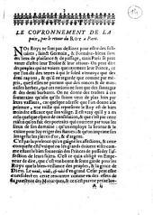 Le Covronnement de la paix: ov les Voevs dv pevple povr le retovr dv Roy et svr celvy de monseignevr le dvc d'Orléans en la ville de Paris
