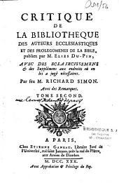 Critique de la Bibliothèque des auteurs ecclésiastiques et des Prolégomènes de la Bible publiez par M. Élies Du Pin