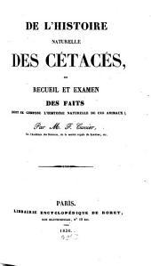 De l'histoire naturelle des Cétacés: Avec 22 pl. noires