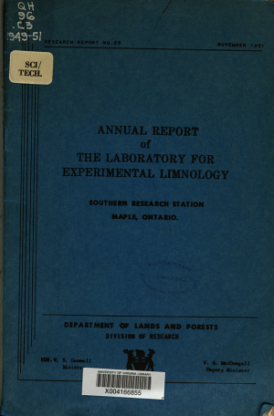Annual Report of the Laboratory for Experimental Limnology  Southern Research Station  Maple   Ontario