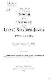 Exercises of the Opening Day of the Leland Stanford Junior University: Thursday, October 1, 1891