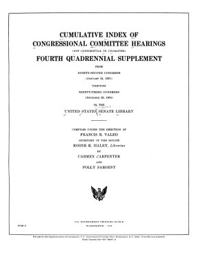 Cumulative Index of Congressional Committee Hearings  not Confidential in Character   PDF