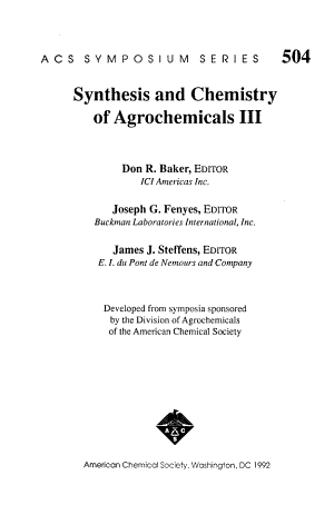 Synthesis and Chemistry of Agrochemicals III PDF