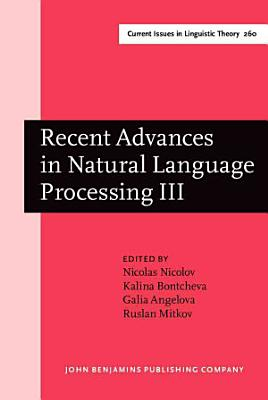 Recent Advances in Natural Language Processing III PDF