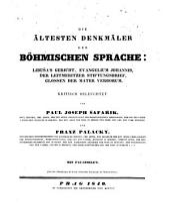 Die ältesten denkmäler der böhmischen sprache