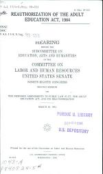 Reauthorization of the Adult Education Act, 1984