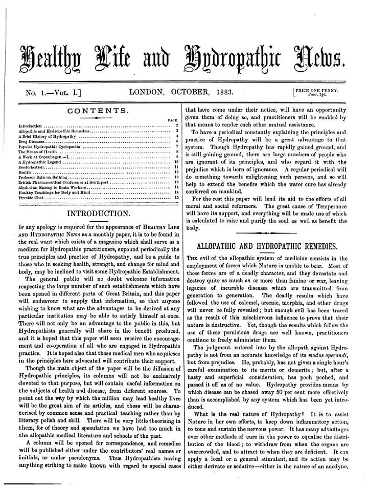 Healthy Life and Hydropathic News