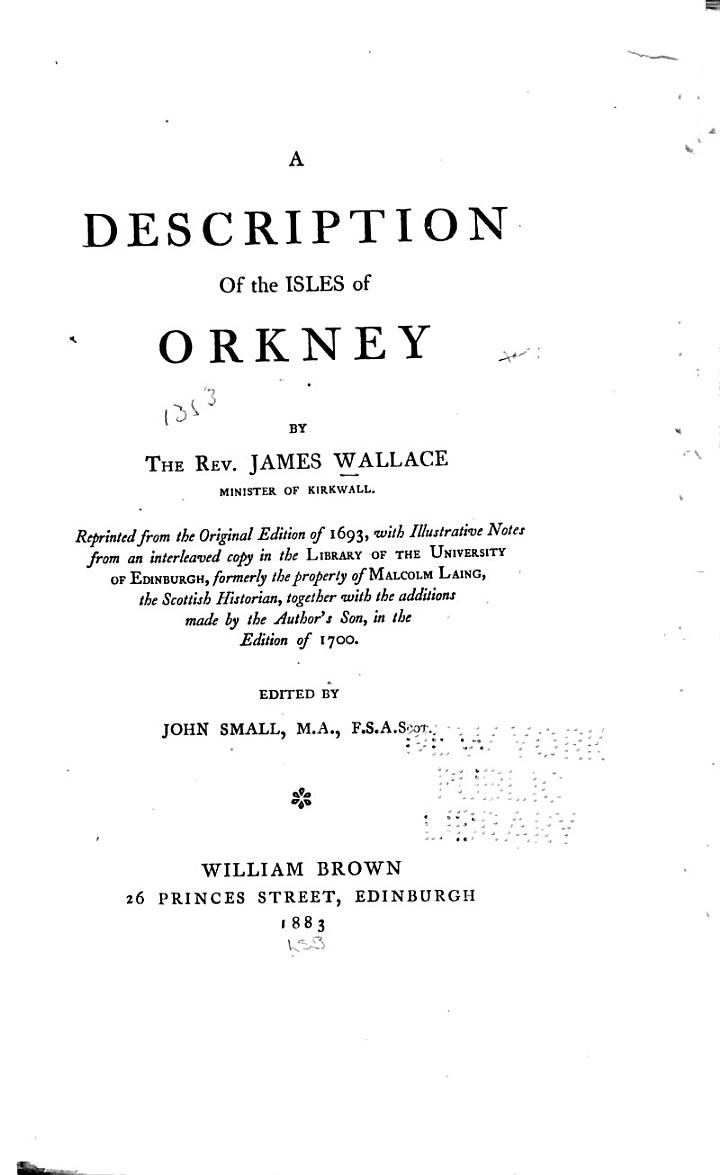 A Description of the Isles of Orkney