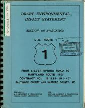 US-1 Reconstruction, Silver Spring Road to MD-152, Baltimore/Harford Counties: Environmental Impact Statement