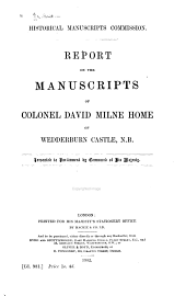 Report on the Manuscripts of Colonel David Milne Home of Wedderburn Castle: Issue 2