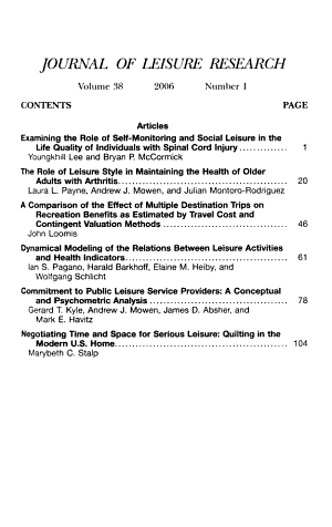 Journal Of Leisure Research