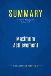 Summary: Maximum Achievement: Review and Analysis of Tracy's Book
