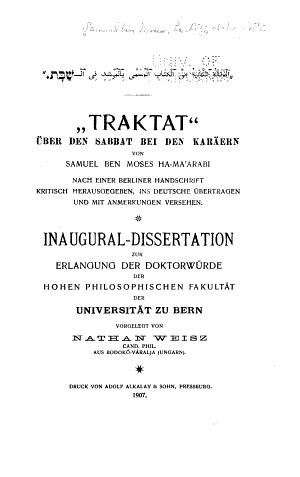 Traktat    ber den Sabbat bei den Kar  ern PDF