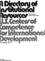 A Directory of Institutional Resources  U S  Centers of Competence for International Development PDF