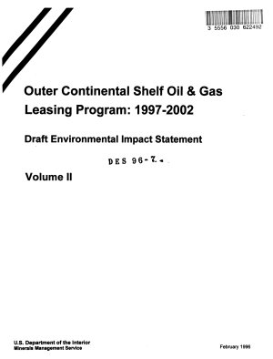 Gulf of Mexico and Offshore Alaska Outer Continental Shelf  OCS  Outer Continental Shelf   Oil and Gas Leasing Program 1997 2002 for 16 Lease Sales on Five year Leasing Program PDF