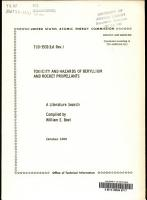 Toxicity and Hazards of Beryllium and Rocket Propellants PDF