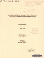 Statistical Analysis of Transient Creep Data from Laboratory Tests on Avery Island Dome Salt PDF