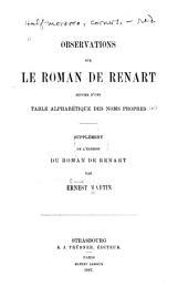 Observations sur le roman de Renart: suivies d'une table alphabétique des noms propres