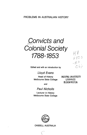 Convicts and Colonial Society 1788-1853