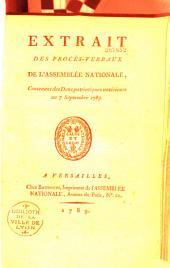 Extrait des Procès-verbaux de l'Assemblée Nationale, contenant des dons patriotiques antérieurs au 7 septembre 1789