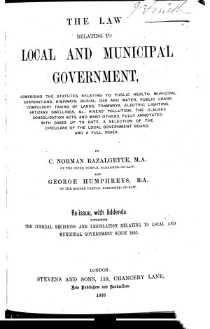 The Law Relating to Local and Municipal Government