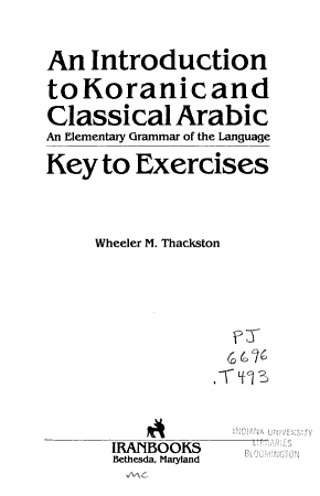 An Introduction to Koranic and Classical Arabic PDF