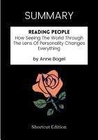 SUMMARY   Reading People  How Seeing The World Through The Lens Of Personality Changes Everything By Anne Bogel PDF