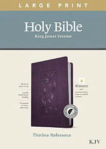 KJV Large Print Thinline Reference Bible  Filament Enabled Edition  Red Letter  Leatherlike  Floral Purple  Indexed  Book