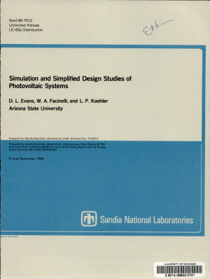 Simulation and Simplified Design Studies of Photovoltaic Systems PDF