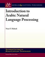 Arabic Natural Language Processing PDF