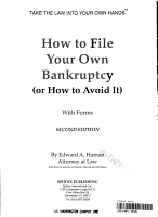 How to file your own bankruptcy  or how to avoid it  PDF